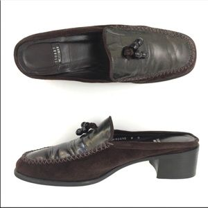 Stuart Weitzman suede brown leather loafers tassle